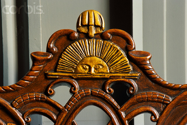 Close-up of Rising Sun Chair in Independence Hall
